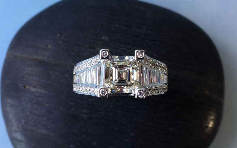 Channel Set Asscher Cut Ring Dallas