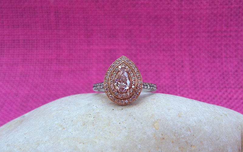 Double Halo Fancy Pink Ring