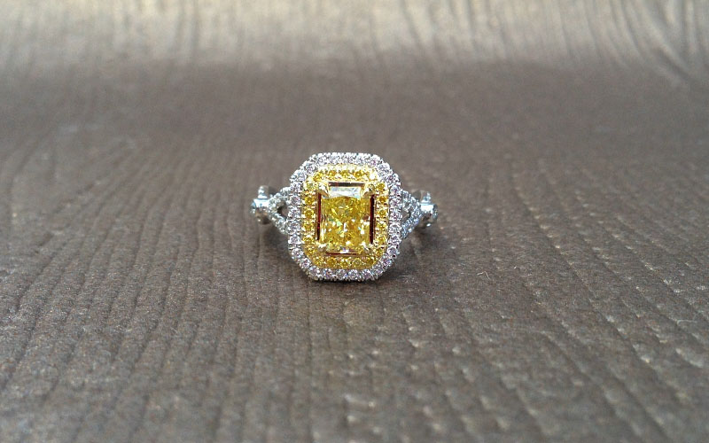 Double Halo Fancy Yellow Ring