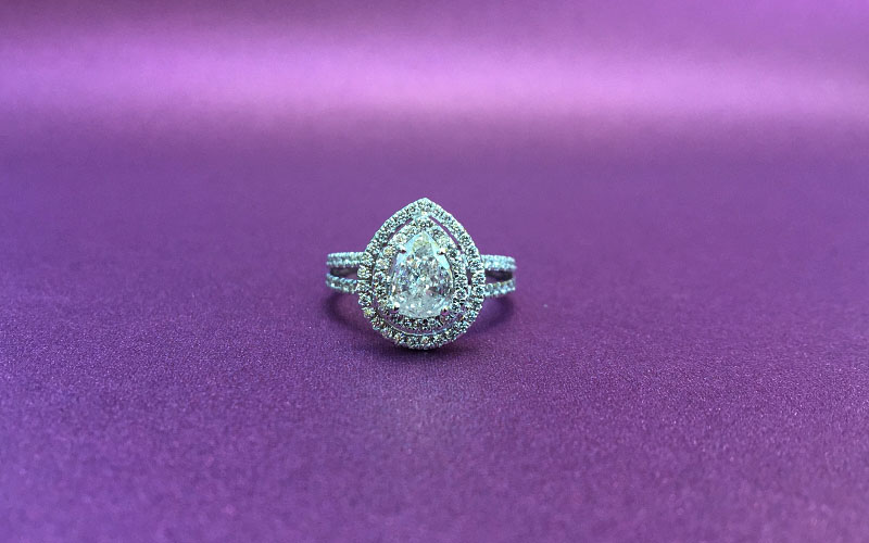 Double Halo Pear Shape Diamond Ring