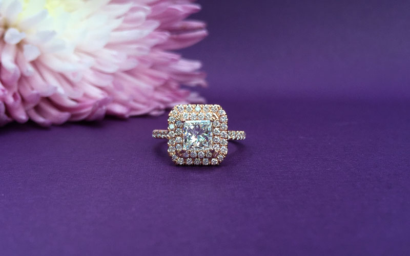 Double Halo Princess Cut Ring
