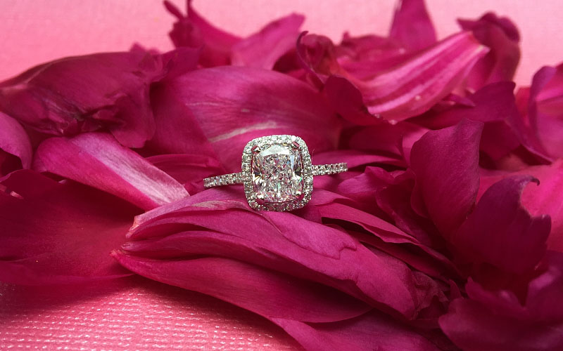 Halo Cushion Cut Engagement Ring Dallas