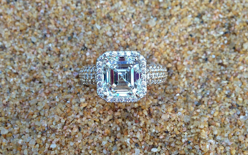 Pave Asscher Engagement Ring Dallas