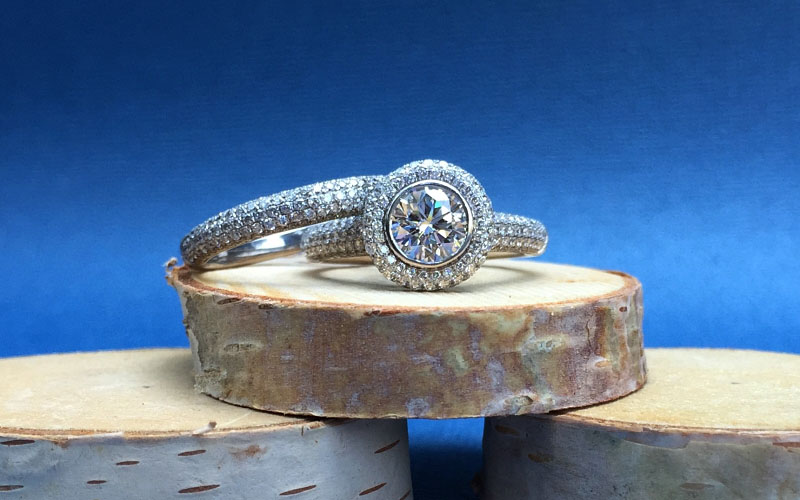Pave Halo Wedding Rings
