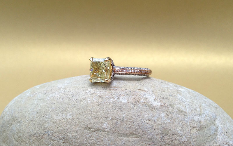 Pave Set Fancy Yellow Diamond Ring Dallas