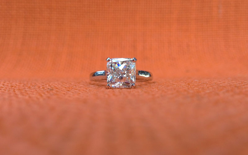Solitaire Engagement Ring Cushion Cut