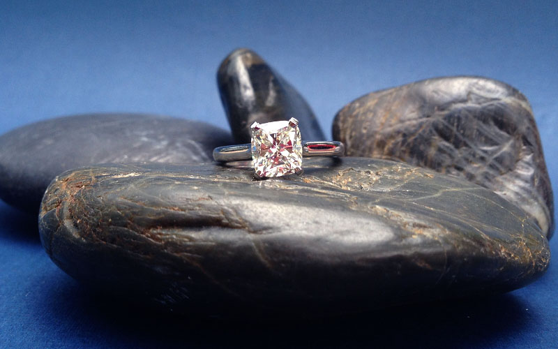 Solitaire Engagement Ring Cushion Diamond