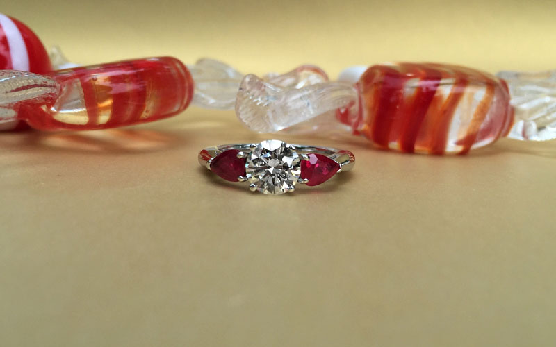 Three Stone Round Pear Shape Ruby Ring