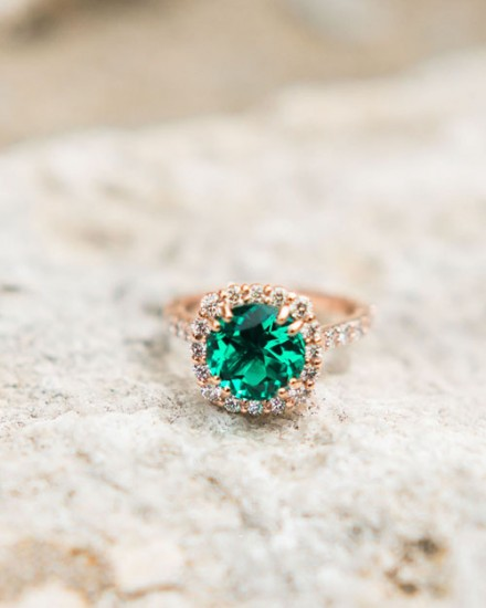 Emerald Halo Engagement Ring Dallas TX