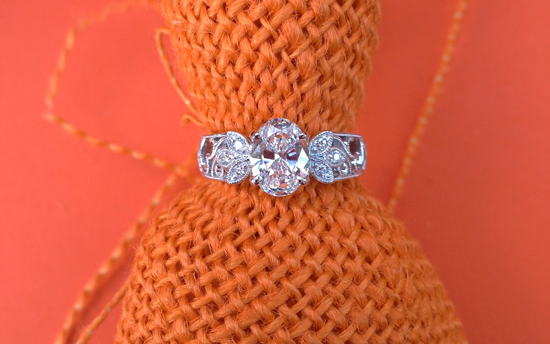Romantic Oval Engagement Ring