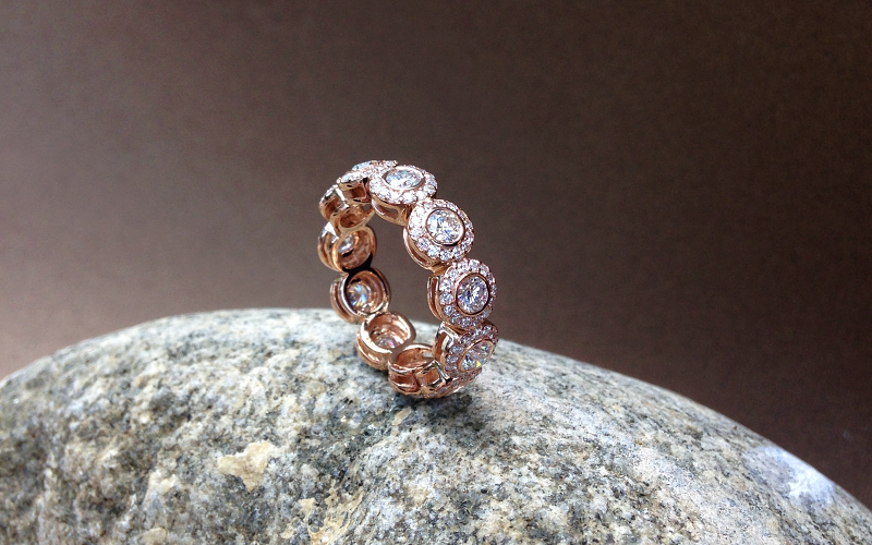 Romantic Rose Gold Eternity Band Dallas