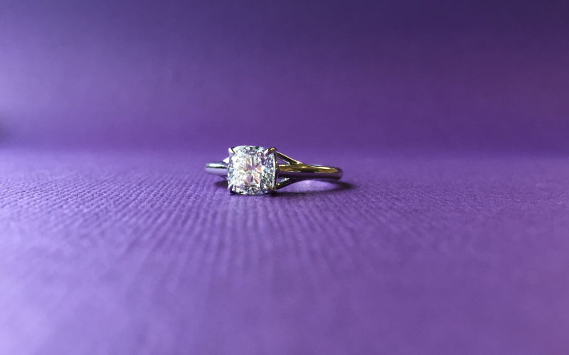 Solitaire Engagement Ring Cushion Cut Dallas