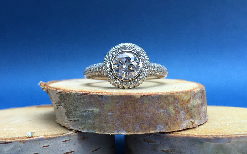 Vintage Pave Halo Diamond Ring Dallas Tx