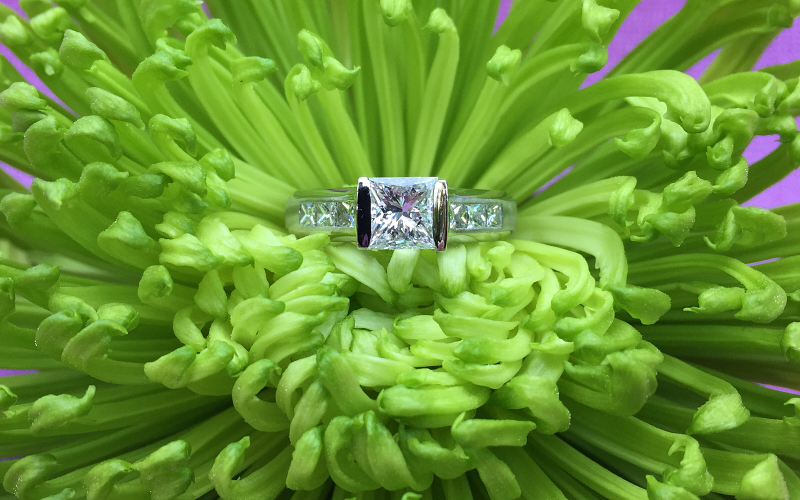 Modern Princess Cut Diamond Ring