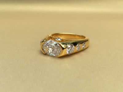 Oval Set Sideways Diamond Ring