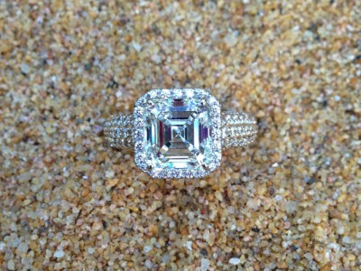 Pave Asscher Diamond Ring Dallas
