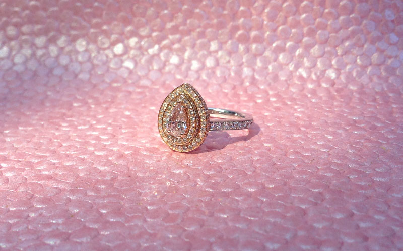 Pear Shape Pink Diamond Ring
