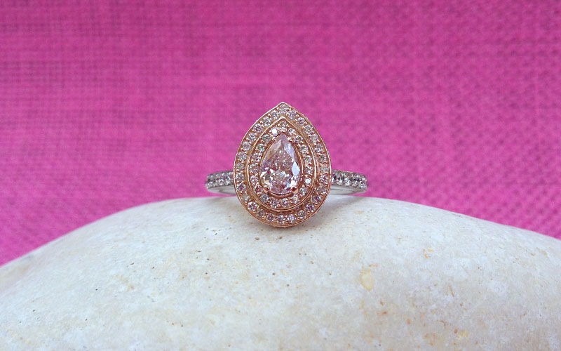 Pink Diamond Ring Double Halo