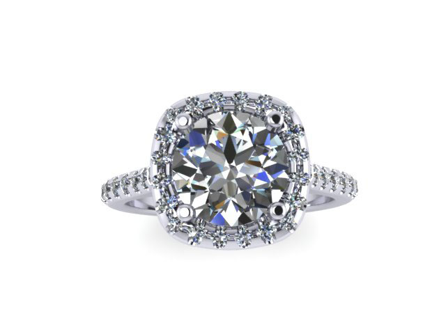 Round Diamond Cushion Halo Ring