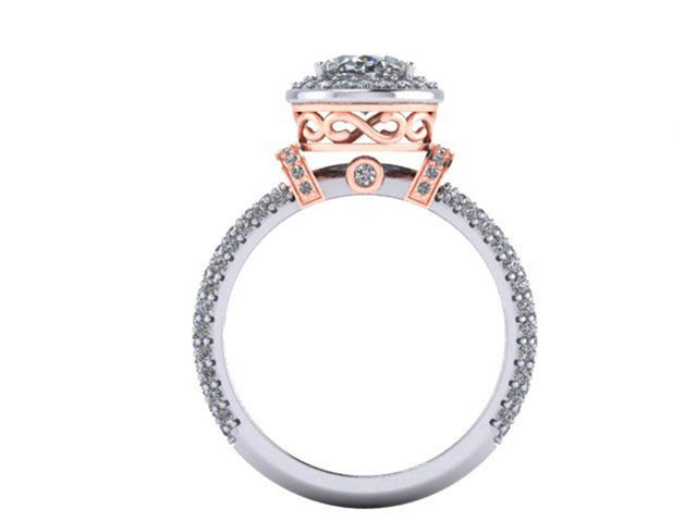 Oval Halo Pave Rose Gold Diamond Engagement Ring