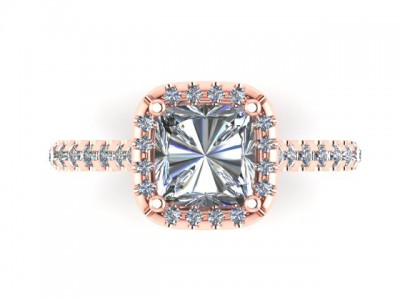 Rose Gold Cushion Diamond Engagement Ring Dallas