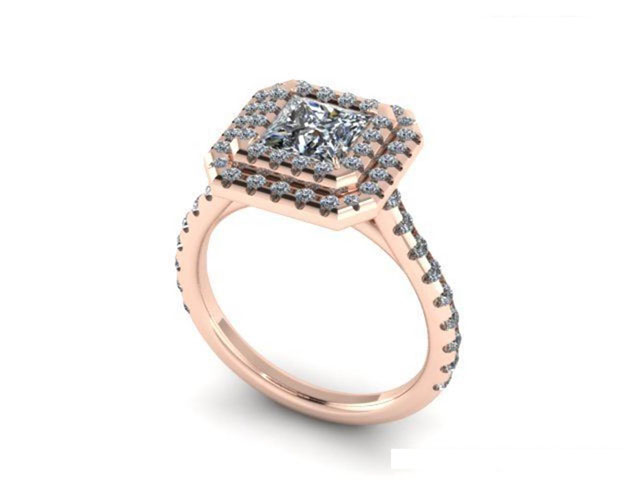 Rose Gold Princess Double Halo Engagement Ring Dallas ...