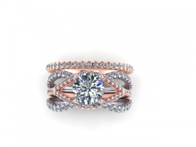 Rose and White Gold Three Band Engagement Ring Dallas