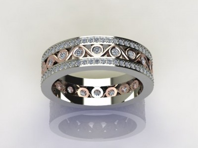 Vintage Rose and White Gold Diamond Eternity Band Dallas