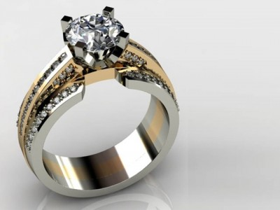 White Gold and Yellow Gold Round Diamond Ring Dallas