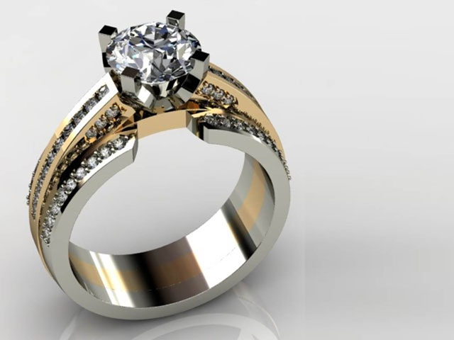 White Gold and Yellow Gold Round Diamond Ring Dallas ...