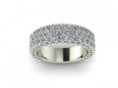Wide Pave Diamond Wedding Band