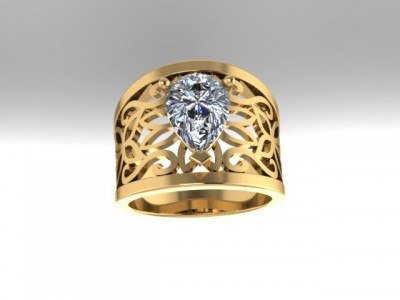 Wide Yellow Gold Pear Shape Diamond Ring