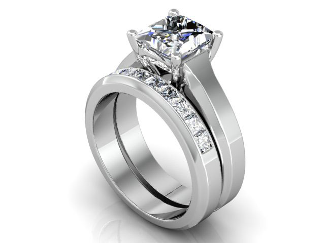 princess cut diamond wedding ring set - Princess Cut Diamond Wedding Ring Sets